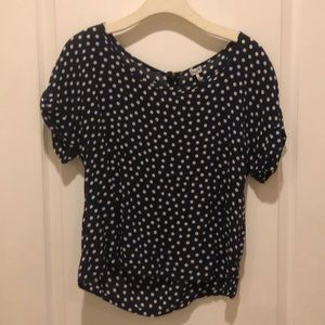 Navy blue/white polka dot top by Splendid, size S
